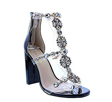 75e0a50262976 Liliana Women's Women's Classy Ankle Strap Clear Rhinestones Style High  Heels Open Toe Stiletto Sexy Heeled Chain Look Strappy Sandals Taylor-19