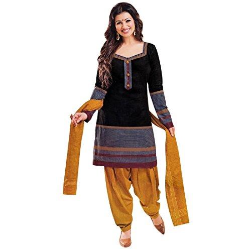 Designer Printed Cotton Salwar Kameez Ready Made Suit Indian Dress – 0X Plus, Black