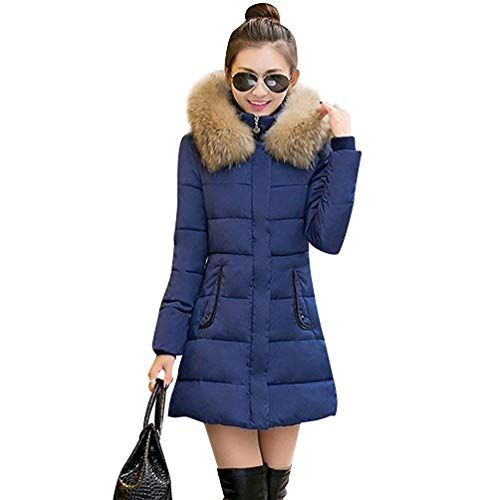 Rembourré Fausse Fourrure En coloré Capuche Slim Veste Femmes Chaud Taille Manteau Xxl À Outwear Bleu Long Hiver Fit UPp4B
