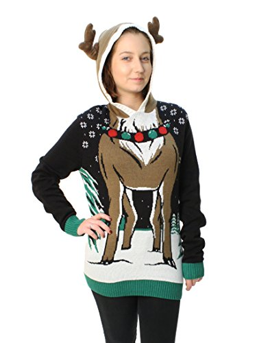 Ugly Christmas Sweater Plus Size Womens Reindeer Hooded Light Up Pullover Sweatshirt-Small Black