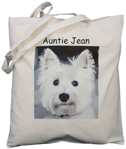 Personalised -West Highland Terrier (Westie) design - Natural Cotton Shoulder Bag