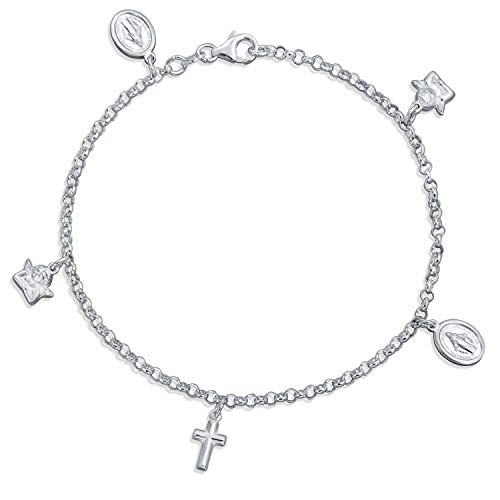 (Multi Charm Crosses Virgin Mary Angle Cherub Religious Dangle Anklet Ankle Bracelet For Women 925 Sterling Silver 10 In)