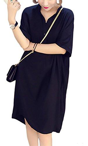 便利さ湿度咽頭(エスティーリーフ)Esty leaf レディース シフォン ワンピース テールカット イレヘム Vネック 半袖 ゆったり ブラック