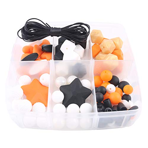 (Baby Love Home DIY Teething Beads Halloween Kit 86pc Pumpkin Mix Color Original Silicone Chewing Teether Necklace Chew Jewelry Pacifier Clip Accessories Montessori)