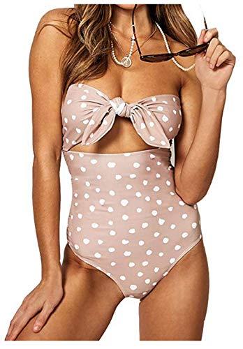 (Billiant Womens Plus Size Polka Dot Beachwear Bandeau Tummy Control One Piece Swimsuit XL)