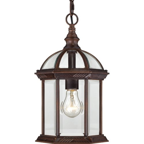 Nuvo Lighting 60/4978 Boxwood One Light Hanging Lantern 100 Watt A19 Max. Clear Beveled Glass Rustic Bronze Outdoor - Entryway Lantern Hanging