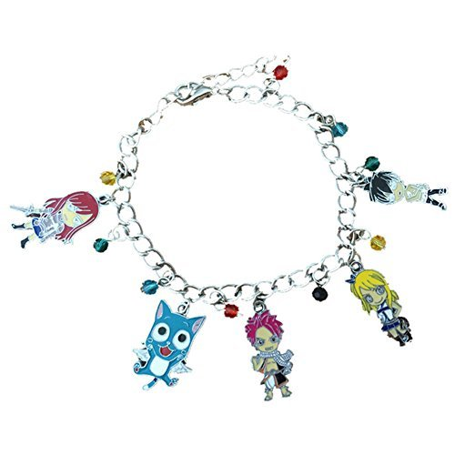 Blue Heron Fairy Tail 5 Logo Charms Lobster Clasp Bracelet w/Gift Box