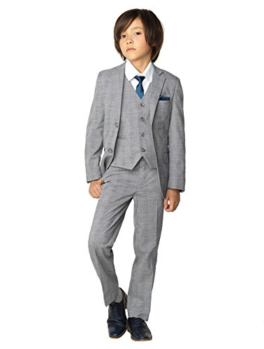 Paisley of London, Boys Gray Check Suit with Shirt and Vest, Ring Bearer Suits, Childrens Suits, ()