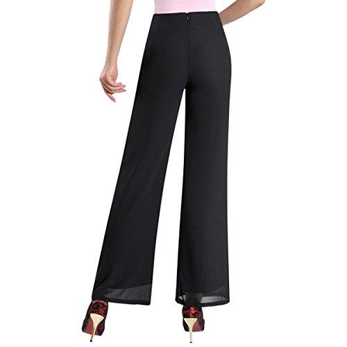 E.JAN1ST Women's Chiffon Palazzo Pants High Waist Solid Lined with Split Lounge Pants, Black1, TagsizeL=USsizeXS