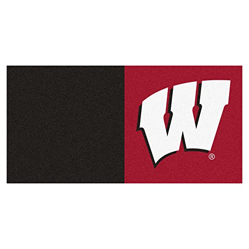 NCAA University of Wisconsin Badgers Team Carpet Tile Flooring Squares, 20-PC Set