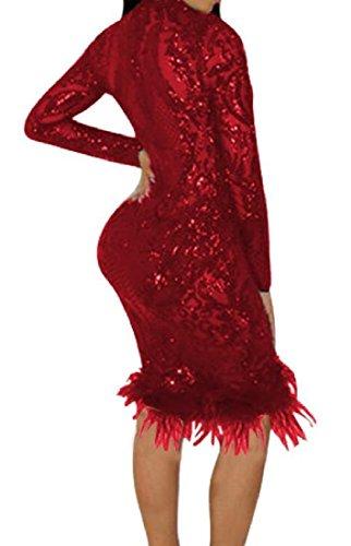 Coolred-femmes Partie De Paillettes D'ajustement Silm Sexy Profond Col V Robe De Boîte De Nuit Rouge