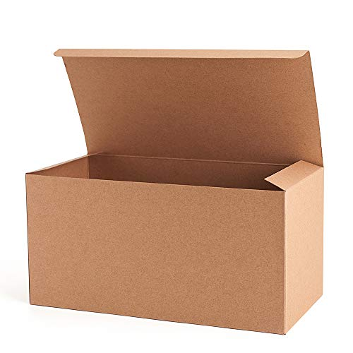 MESHA Recycled Gift Boxes 9x4.5x4.5 Inch Brown Paper Boxes 10PCS Kraft Favor Boxes for Party, Wedding, Gift ()