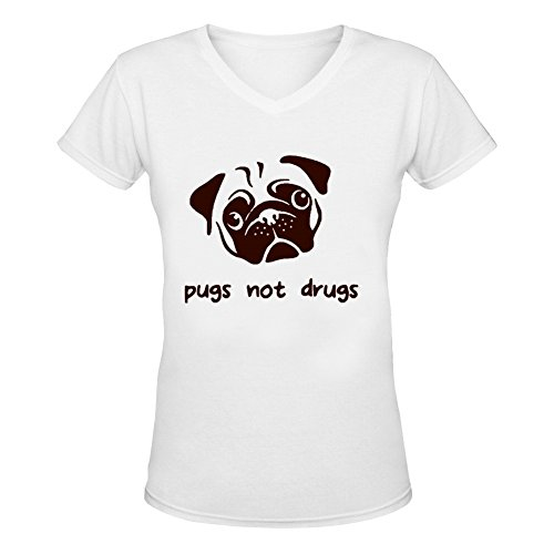 (Womens Pugs Not Drugs V-Neck T-Shirt XXL White)