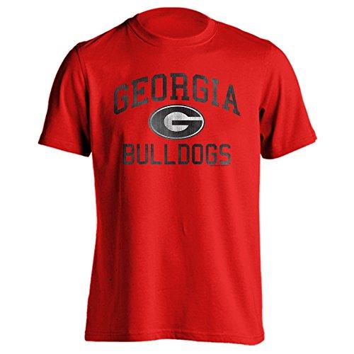 Southland Graphics Apparel Georgia Bulldogs UGA Distressed Retro Logo Short Sleeve T-Shirt (Red, M) ()