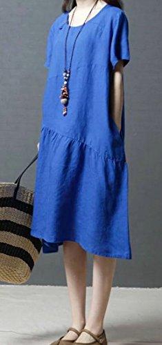 Solido Formato Girocollo Estate Blu Cromoncent Sciolto Più Comoda Donne Vestito Cotone Lino xUnIvqP7P
