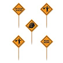 Beistle Construction Signs Picks, 2½-Inch