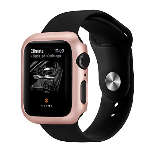 Coobes Compatible with Apple Watch Case Series 4 44mm 40mm, Ultra-Thin Bumper PC Hard Lightweight Shockproof Protector Cover Slim Frame Accessories Compatible iWatch (Rose Gold, 40mm)