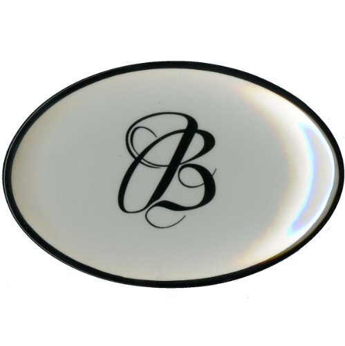 Mud Pie Letter B Monogram Initial Coin Holder or Soap Dish 257302 5.5x3.75x.75 White Black (Dishes Toile)