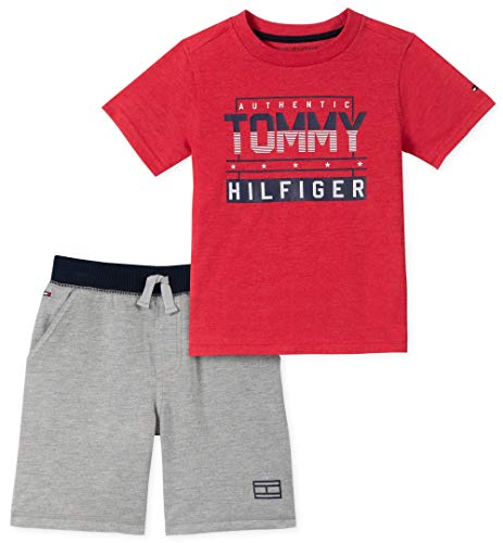 Tommy Hilfiger 2 Piece - Tommy Hilfiger Boys' Toddler 2 Pieces Shorts Set, red/Gray 4T