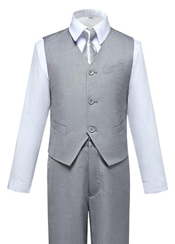 ids Boy Light Gray Suit Tuxedo Outfit Vest and Pants Set Size 5 ()