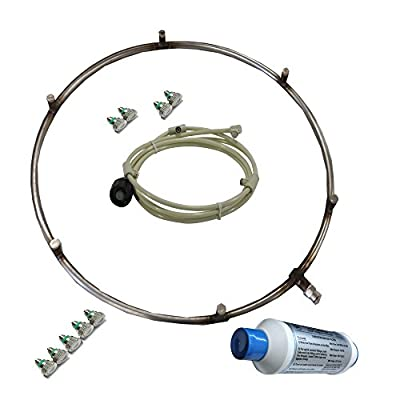 mistcooling Stainless Steel Fan Misting Ring, 15'' Fan 6 Nozzle's-Recommended for Fans with 18-20'' Diameter, Shinny Silver