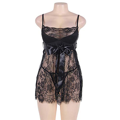 Sexy Babydoll Lingerie Erotic Women Lace Plus Size Costume Sleepwear Transparent Hollow-Out Chemise Underwear