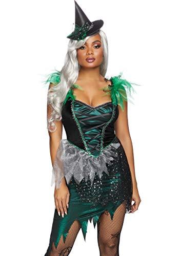 Leg Avenue Women's 2 Pc Wicked Witch Costume, Multi/Green/Black, Small/Medium -