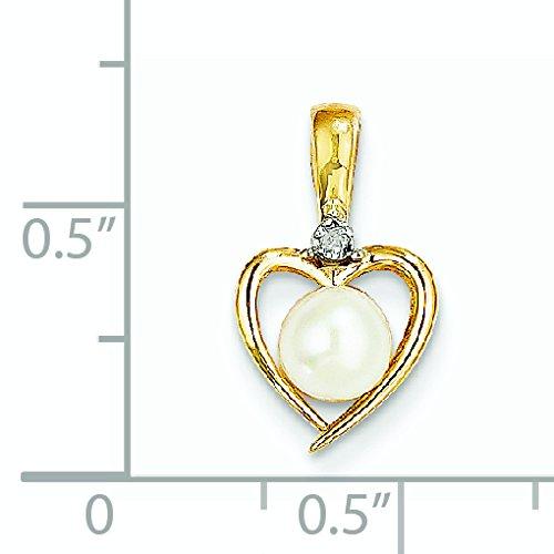 Brut 14 carats avec diamant et perle de culture d'eau douce-Pendentif JewelryWeb