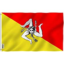 Anley Fly Breeze 3x5 Foot Sicily Flag - Vivid Color and UV Fade Resistant - Canvas Header and Double Stitched - Italy Sicilian Flags Polyester with Brass Grommets 3 X 5 Ft