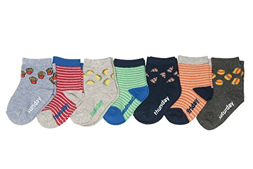 OshKosh B'Gosh Baby Boys Crew Socks (7 Pack), Junk Food/Blue, red, Green, Orange, 3-12 Months