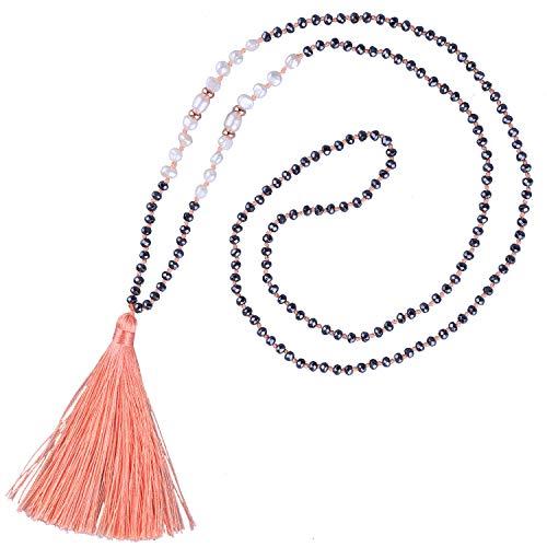KELITCH Long Tassel Necklace Handmade Shell Pearl Crystal Beads Necklace Fashion Women Jewelry(Light Orange)
