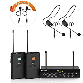 wireless microphone system,fifine uhf dual channel wireless microphone set  with 2 headsets and 2 lapel lavalier microphone ideal for church, weddings