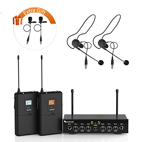 Wireless Microphone System,Fifine UHF Dual Channel Wireless Microphone Set with 2 Headsets and 2 Lapel Lavalier Microphone.Ideal for Church, Weddings,Presentations,School - Diversity Wireless Receiver Dual Microphone
