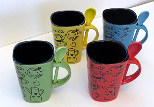 - 8 Piece Ceramic Deluxe 12oz. Coffee/Tea Mug Set - Cute