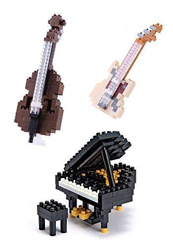 Juego de tres instrumentos musicales en Nanoblocks - Grand Piano, Contrabajo y guitarra eléctrica: Amazon.es: Juguetes y juegos