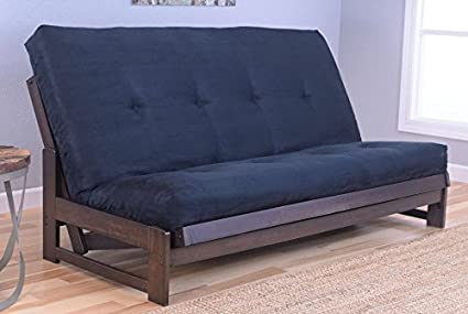 Colorado Reclaim Mocha Frame and Mattress Set w/ Choice of Fabrics, 7 Inch Innerspring Futon Sofa Bed Full Size Aspen Style (Frame w/ Suede Black)