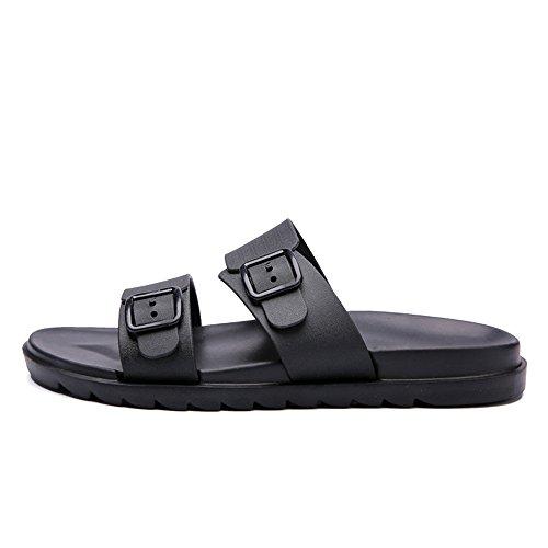 Jiuyue Due scarpe shoes Traspirante Trascina Style New uomo antiscivolo da da Scarpe Pure Color da spiaggia per Nero spiaggia Sandali Casual indossare Fondo morbido uomo British da wwqadZ