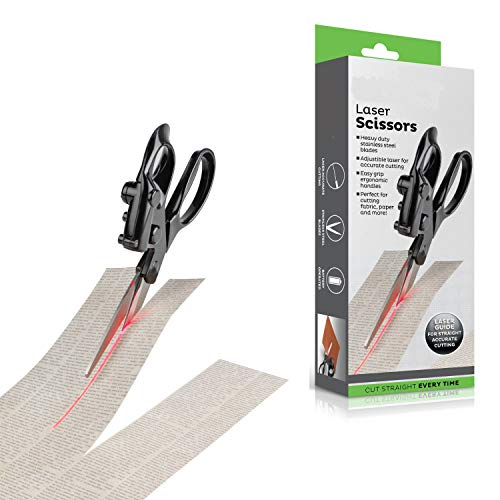 Laser Guided Sewing Fabric Scissors - Cut Straight Fast Fabrics Paper Crafts Art Every Time - Shears End Crooked Cutting - Easy Grip Ergonomic Handle - Best for Sewing, Gift Wrapping, Office, Home Use