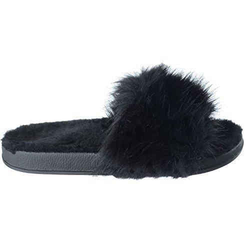 Miss Image UK New Ladies Womens Comfy Flat Fur Fluffy Sliders Slippers FLIP Flop Sandals Shoes Size Black x2kiusZu4C