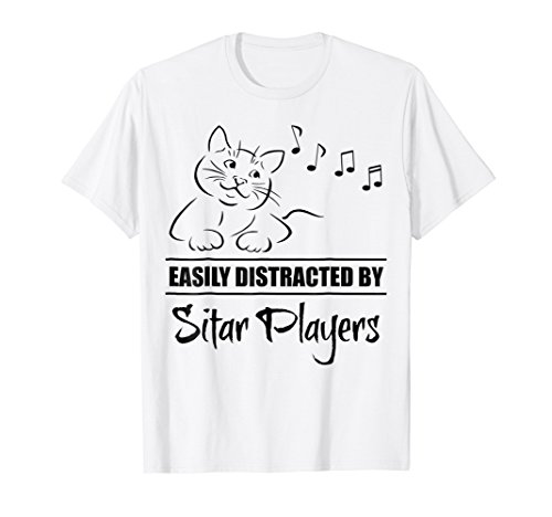 Curious Cat Easily Distracted by Sitar Players T-Shirt