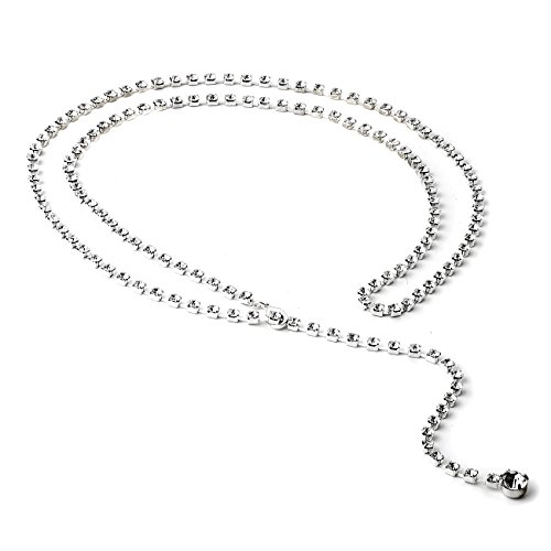 - Topwholesalejewel Silver Crystal Rhinestone 39 Inches Single Line Belt with a Single Stone End