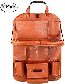 Hcmax 2 Pack Luxus Auto Rückenlehnenschutz Autositz Zurück Organisator Faltbar Esstisch Halter Tablett Multifunktional Schutz Aufbewahrungstasche Trittmatte Reisezubehör Pu Leder Auto