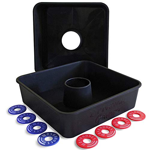 Driveway Games All Weather Washooes Washers Game Set. 8 Pitching Washers & Target Ring Toss Boards