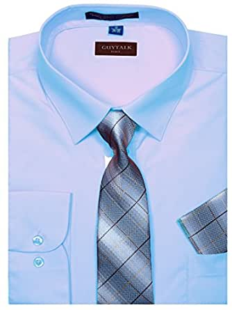 Guytalk mens dress shirt with matching tie and for Mens shirts with matching ties