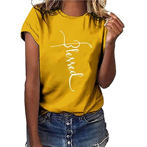 Women T-Shirt Casual Summer Short Sleeve Tee Sunflower Print Loose Fit Blouse Tops (XXXL, Yellow 3)
