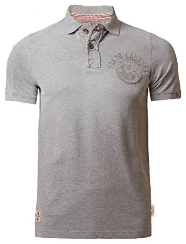Tokyo Laundry Herren Polo Shirt Kragen Kurzarm Sommer Baumwolle 1X 3902 Grau marl, Gr. Large