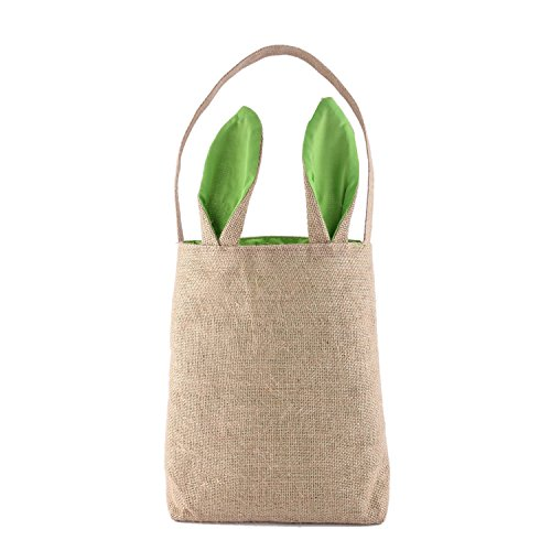 Easter Bunny Bag,SOMAN Bunny Ears Design Jute Bag to Carry Eggs Candy and Gifts(green) (Hobo Halloween Costume Ideas)