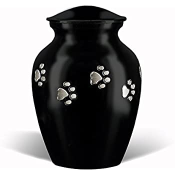 Ebony classic series paw print pet cremation memorial urn for dog cat and pets horizontal