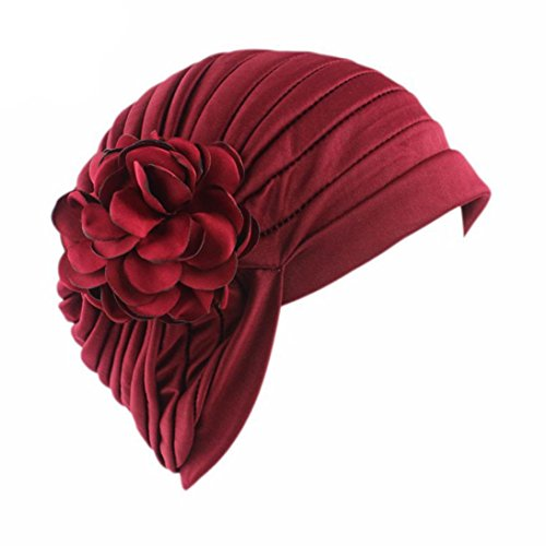 Woman Head Wrap Gift (Cywulin Women Flower Indian Stretch Chemo Hat,Polyester Beanie Scarf Turban Head Wrap Cap Gift for Cancer (Wine Red))