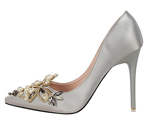 Aisun Femmes Sexy Strass Robe En Satin Stiletto Talons Hauts Glisser Sur Les Chaussures Pointues Chaussures Gris